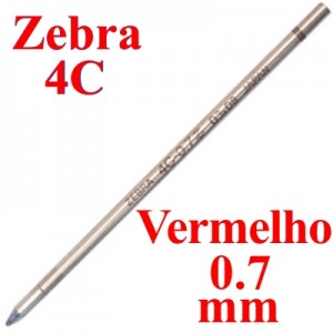 Carga de Caneta Zebra 4C Vermelho Esferográfica