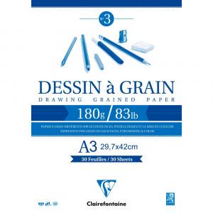 Bloco de Papel Desenho Dessin à Grain A3 180g/m² Clairefontaine