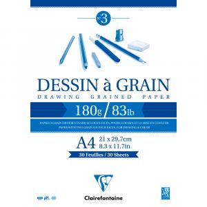 Bloco de Papel Desenho Dessin à Grain A4 180g/m² Clairefontaine