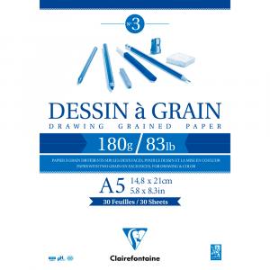 Bloco de Papel Desenho Dessin à Grain A5 180g/m² Clairefontaine