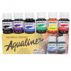 Aqualine Aquarela Líquida Estojo 06 Cores Corfix