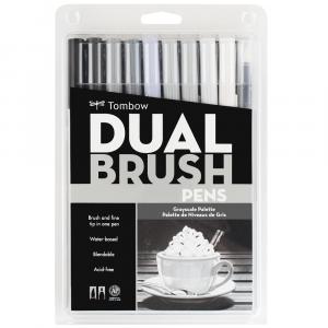 Caneta Pincel Dual Brush Tombow 10 Cores Cinzas