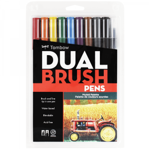 Caneta Pincel Dual Brush Tombow 10 Cores Suaves