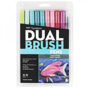 Caneta Pincel Dual Brush Tombow 10 Cores Tropicais