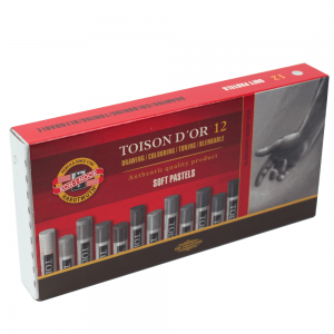 Pastel Seco Koh-I-Noor 12 Cores Tons de Cinza