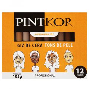 Giz de Cera Pintkor 12 Cores Tons de Pele