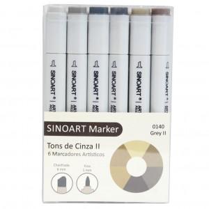 Marcador Artístico Sinoart Marker 06 Tons de Cinza ll