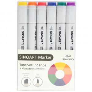Marcador Artístico Sinoart Marker 06 Cores Secundárias