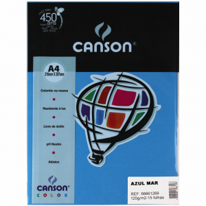Papel Canson Vivaldi A4 120g/m² 15 Folhas Azul Mar