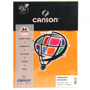 Papel Canson Vivaldi A4 180g/m² 10 Folhas 05 Cenoura