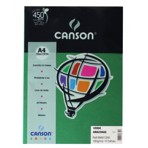 Papel Canson Vivaldi A4 180g/m² 10 Folhas Verde Amazonas