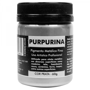 Purpurina em Pó Prata 60g Cromacolor