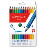 Lápis Aquarelável Jumbo Fancolor Caran d'Ache 12 Cores