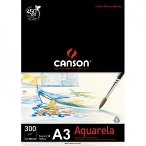 Bloco de Papel Para Aquarela Canson Mix Media A3 300g/m²