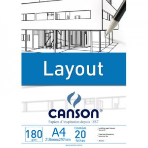 Bloco de Papel Layout Canson 180g/m² A4